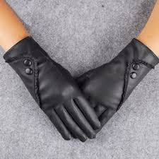 women ladies black leather gloves autumn winter warm ... - Vova