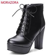 MORAZORA wholesale <b>big size 34 48 ankle</b> boots for women zipper ...