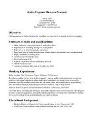 audio engineer resume   best resume examplerecording engineer resume