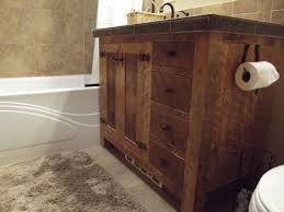washstand bathroom pine: reclaimed wood vanity entry rustic with built ins chandelier
