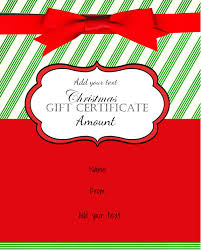 christmas gift certificate templates christmas gift card in red and green a red ribbon