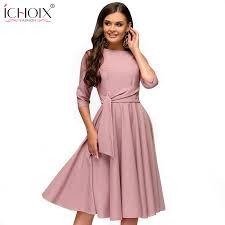 ICHOIX 2019 Spring <b>summer women</b> casual dresses <b>elegant a line</b> ...