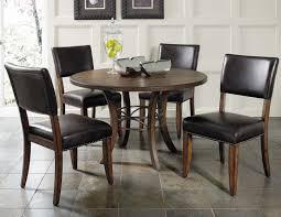 dining table parson chairs interior: black leather parsons chairs with pedestal dining table on cozy laminate tile flooring