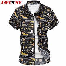 <b>LONMMY 6XL 7XL</b> Floral <b>mens</b> shirts blouses <b>Casual</b> Guitar pattern ...