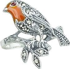 Серебряное кольцо ''Малиновка'' <b>Марказит</b> HR1280-<b>mr</b> с эмалью ...