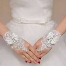 White Ivory Short Wedding <b>Gloves</b> for Bride Fingerless Bridal <b>Gloves</b> ...