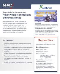 abilityfirst linkedin we invite you to sign up for a map seminar proven principles of intelligent effective leadership 100% of registration fees donated to abilityfirst