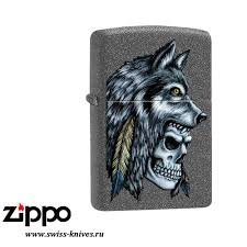 <b>Зажигалка</b> широкая <b>Zippo</b> Classic <b>Wolf Skull</b> Feather Design Iron ...