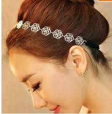 bella catena elastica scavare fiore di rosa capelli banda elastica fascia metallico ingrosso accessori per capelli - Lovely-font-b-Chain-b-font-Elastic-Hollow-Out-font-b-Rose-b-font-Flower-Stretch