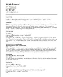 resume objective examples for retail position resume objective for resume in retail
