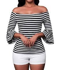 LittleLittleSky Womens <b>Autumn</b> Black White Stripes <b>Off the Shoulder</b>