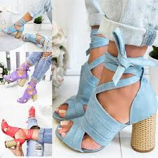 <b>Women Lace Up Strappy</b> Sandals High Heel Shoes | Shopee ...