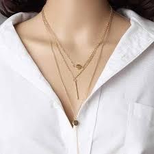 2018 New <b>Fashion</b> Multi <b>Layers Necklace</b> Stick Pendant Choker ...