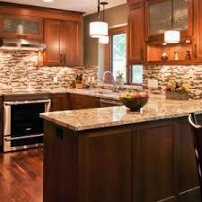 enchanting kitchen design with wood kitchen cabinets and mosaic tile backsplash designs plus under cabinet lighting cabinet lighting backsplash home design