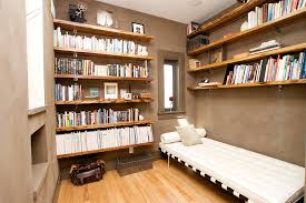 library example of a trendy family room design in san francisco with a library cado modern furniture wing