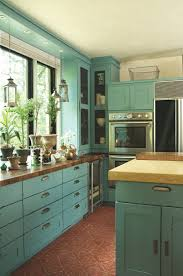 Shabby Chic Colors For Kitchen : Distressed turquoise kitchen cabinets u quicua