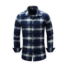 Blue Plaid Long Sleeve Shirts Men <b>2019 Spring New</b> Check Shirt ...