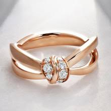 Huitan Rose Gold Color <b>Bowknot</b> Women Ring Crystal <b>Zircon</b> Cute ...