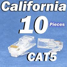 <b>10 Pcs RJ45</b> 8P8C Network Cable Modular Plug CAT5 CAT5E ...