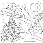 Раскраски о зимнем пейзаже