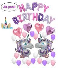 30pcsSet Gold Unicorn Balloons Purple Pink <b>Latex Balloon Heart</b> ...