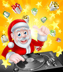 christmas flyer stock photos pictures royalty christmas christmas flyer cartoon christmas santa claus dj at the record decks christmas gift presents