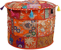 HANDICRAFT-PALACE Indian Traditional <b>Cotton Round Ottoman</b> ...