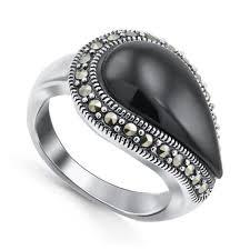 Серебряное <b>кольцо</b>, вставки: оникс, марказит, арт.: <b>210031</b>-<b>297</b>-<b>39</b>