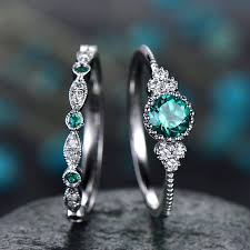 <b>2Pcs</b>/<b>Set</b> rings 2019 New <b>Luxury</b> Green Blue Stone Crystal Rings ...