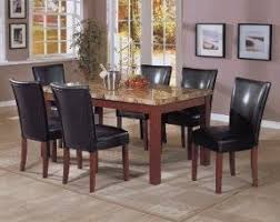 black marble top dining table pc marble top dining table amp  black parson chairs set