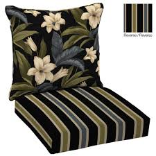 reversible black tropical blossom welted 2 piece deep seating outdoor lounge chair cushion set black patio chair cushions