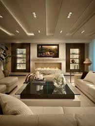 modern living room design ideas in brown and beige sofa set coffee table fireplace black beige living room