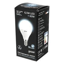 Светодиодная <b>лампа Gauss LED</b> Globe E14 6.5W 100-240V 4100K