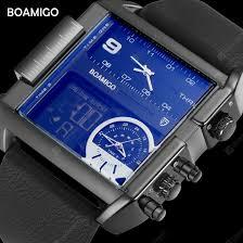 BOAMIGO brand <b>men sports watches</b> 3 time zone big man <b>fashion</b> ...