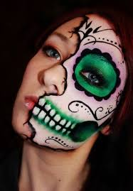 skull makeup using makeup brushes gently apply the above made mixture to the entire face allow it to