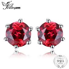 2019 <b>JewelryPalace Round 1.2ct Natural</b> Red Garnet Earrings Solid ...