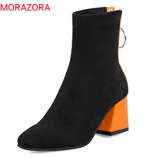 MORAZORA 2019 <b>big size 34 48 ankle</b> boots for women zipper ...
