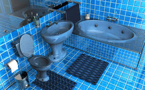 blue bathroom tile ideas:  admirable glossy blue square tile bathroom ideas also