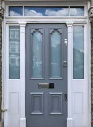 A Victorian <b>Style</b> Door With Sidelights And Fanlight. Frosted <b>Glass</b> ...