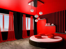 red wall paint black bed: black white and red bedroom design ideas