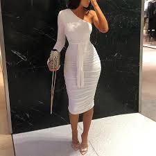 <b>2019 Women Elegant</b> Fashion Sexy <b>White</b> Cocktail Party Slim Fit ...