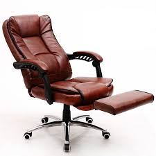 Comfortable Leather <b>Office Chair Reclining Computer Chair</b> Swivel ...