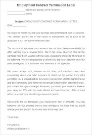 sample employment contract termination letter business agreement sample letter