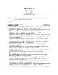 sample of a teacher resume  tomorrowworld coresume exles montessori teacher sle   sample of a teacher