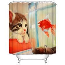 large size design black goldfish bath accessories: new d shower curtains cartoon cat and goldfish pr