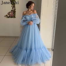 JaneVini <b>Elegant Light Sky Blue</b> Long Sleeve Dress Evening Off ...