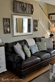 furniture living room wall: brown leather couch living room decoration adding a mirror above the
