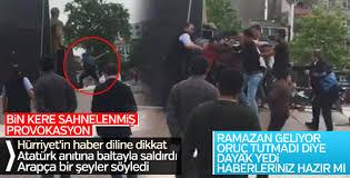 Akli dengesi bozuk biri Atatürk heykeline saldırdı