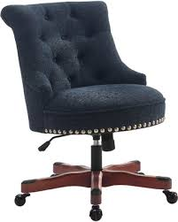 Sinclair Office Chair, Dark <b>Walnut Wood Base</b>, Dark Blue