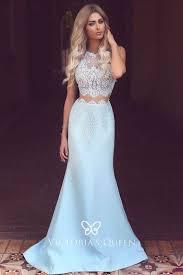 Two-piece <b>Sky Blue</b> Scalloped <b>Lace</b> Illusion Prom <b>Dress</b> - VQ